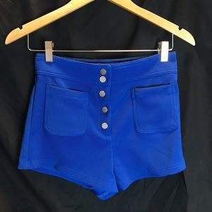 Blue button up shorts